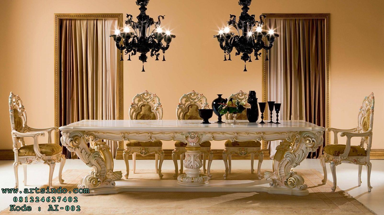 Set Kursi Meja Makan Minerva Klasik Ukir Mewah