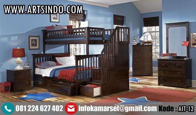 Set Tempat Tidur Tingkat Kayu Jati