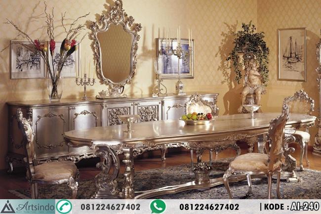 Set Meja Makan Ukir Mewah Silver AI-240, Meja makan eropa klasik, desain meja makan 10 kursi, set kursi makan ukir terbaru, jual set meja makan mewah