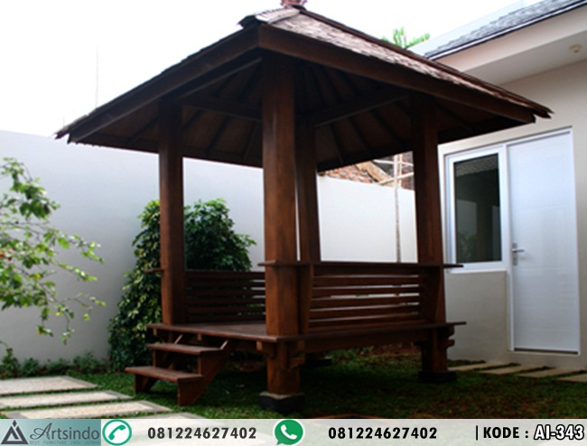 Gazebo Minimalis Kayu Jati Atap Sirap