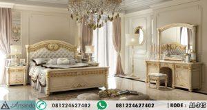 Tempat Tidur Ukir Mewah Krem Gold Leaf AI-345