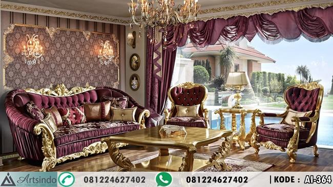 Kursi Tamu Mewah Gold Klasik Ukir Eropa Efsane