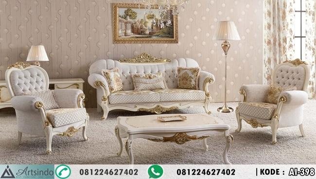 Sofa Tamu Klasik Elegan Putih Gold