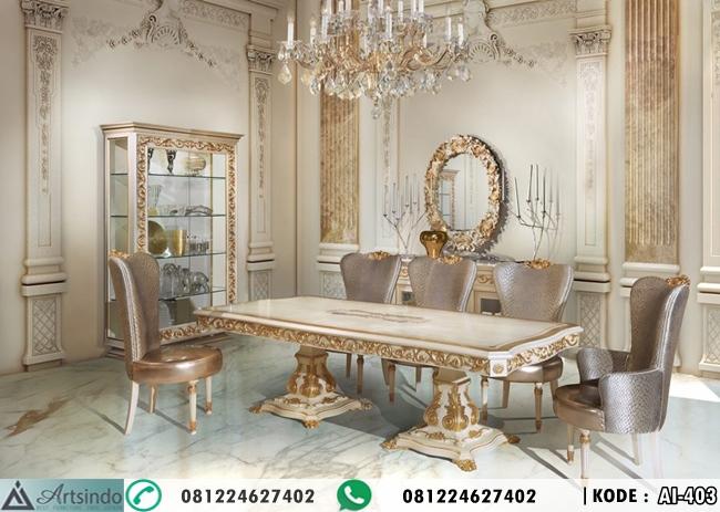 Set Meja Makan Putih Gold Klasik Ukir Winsome