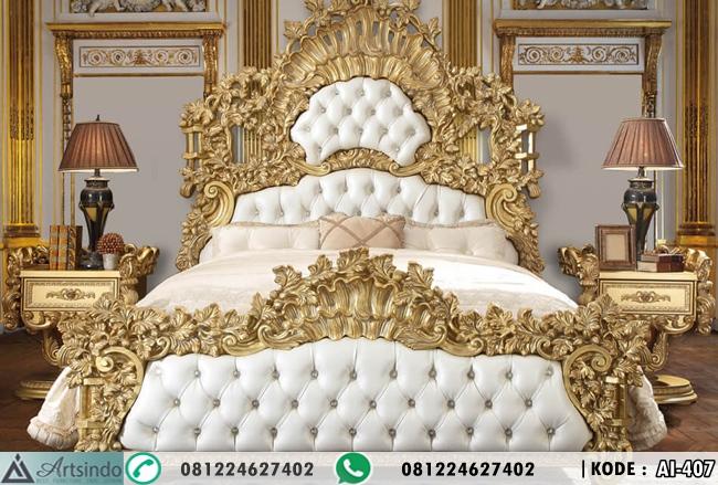 Tempat Tidur Pengantin Full Ukiran Warna Gold AI-407