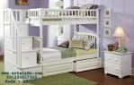 Tempat Tidur Tingkat Putih Duco Murah Berlaci