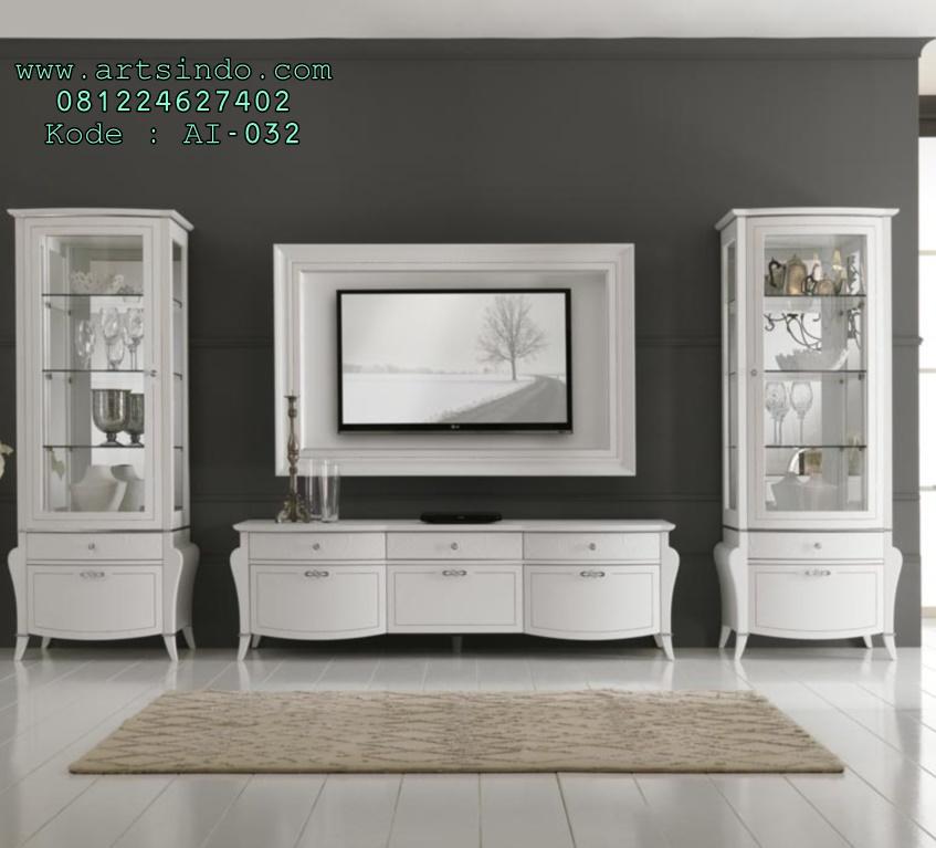 Set Bufet Meja Tv Klasik Minimalis Putih Duco
