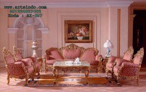 Set Kursi Ukir Ruang Tamu Mewah Pink Gold Alena