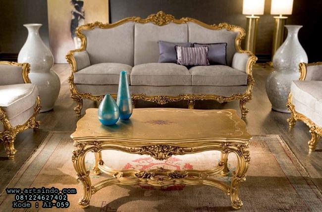 Meja Kursi Tamu Mewah Omero Klasik Gold Ukiran