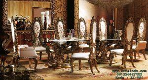 Set Meja Makan Mewah Imperial Wood Carved Flower AI-051