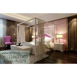 Set Tempat Tidur Putih Tirai Kanopi Klasik Modern