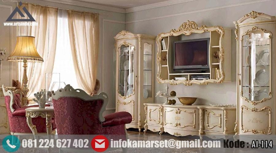 Bufet Tv Mewah Klasik Gold Duco