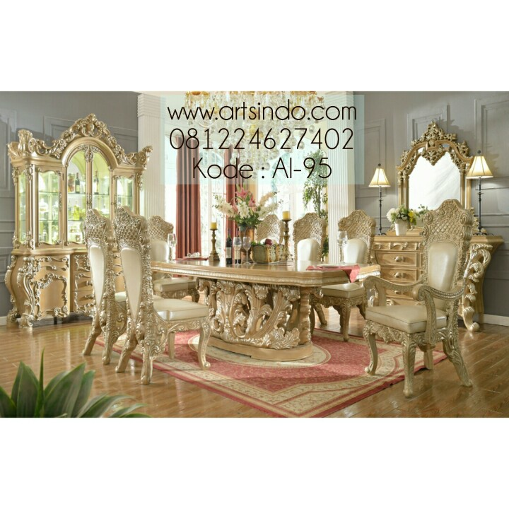 Set Meja Makan Royal Mewah Ukiran Jepara