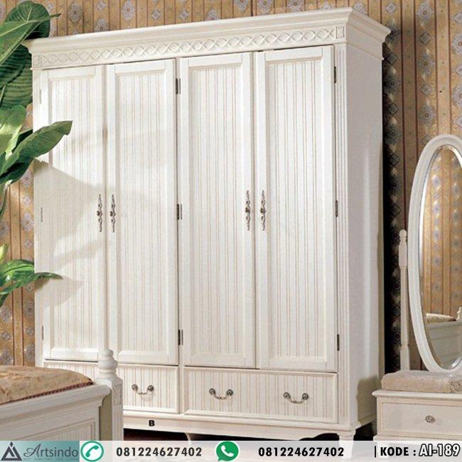 Lemari Pakaian Putih 4 Pintu Laci