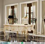 Meja Kerja Klasik Eropa Putih Gold Leaf