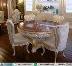Meja Makan Bundar Klasik Mewah Inlay