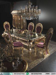 Set Meja Makan Ukiran Klasik Eropa Mewah Gold
