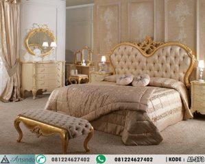 Set Tempat Tidur Klasik Elegan Model Eropa Gold