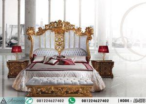 Tempat Tidur Mewah Luis Klasik Ukir Gold