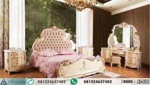 Tempat Tidur Mewah Klasik Krem Gold Eropa AI-416