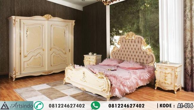 Tempat Tidur Mewah Klasik Krem Gold Eropa AI-416 Model Terbaru