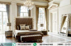 Tempat Tidur Mewah Klasik Ornate Baroque Silver