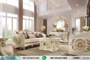 Set Kursi Tamu Klasik Putih Gold Eropa AI-429