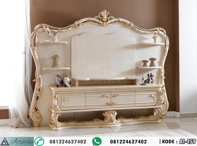 Meja TV Klasik Putih Gold Mewah