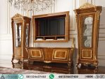 Set Meja TV Mewah Gold Veneer Inlay