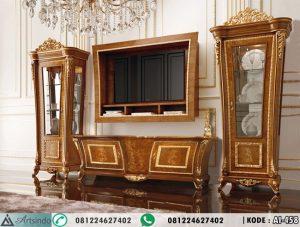 Set Meja TV Mewah Gold Veneer Inlay