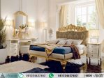 Set Tempat Tidur Ukir Mewah Putih Gold Klasik AI-457