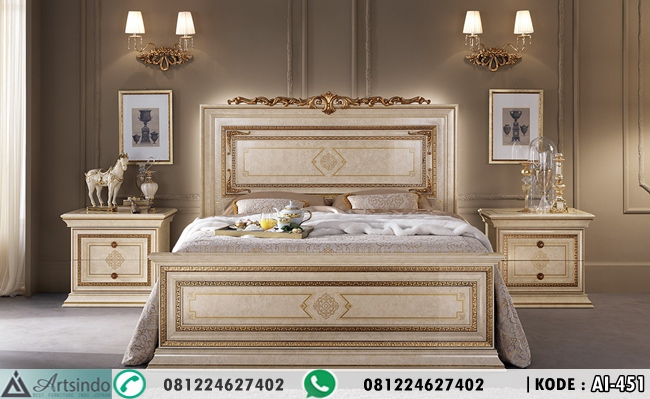 Set Tempat Tidur Ukir Minimalis Gold AI-451