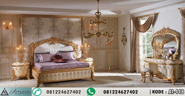 Set Tempat Tidur Ukiran Krem Gold Eyfel