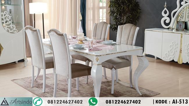 Meja Makan Putih Klasik Modern AI-513