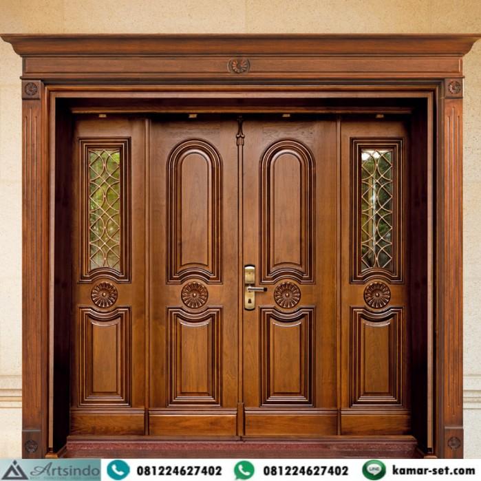 Pintu Utama Kayu Jati Klasik Elegan Dengan Jendela Kayu Permanen